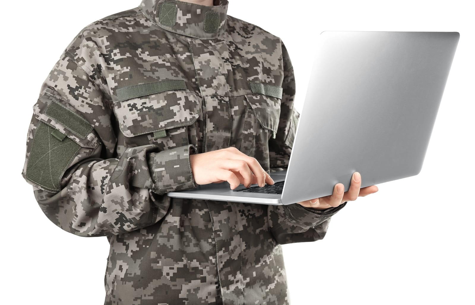 Soldier using encrypted communications